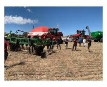 Farmers check out an Ausplow deep ripper during the recent Boekeman Machinery Ride and Drive Day at Wongan Hills.