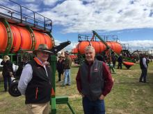 Ausplow general manager Chris Farmer (left) discusses the company's patented section control system with Boekeman Machinery's Stewart Harrison, Wongan Hills.