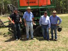 Ausplow general manager Chris Farmer (left), Keith Ryan, who will be overseeing the pasture trials in New South Wales, Ausplow managing director John Ryan AM and Glen Innes, NSW farmer, Peter Alexander, pictured next to the Ausplow trial seeder. Keith, who is John's brother, has had extensive experience and knowledge of deep tillage and the DBS system. Ausplow service manager Ray Beecham is obscured underneath the trial seeder. Ray plays a pivotal role visiting DBS owners throughout Australia.