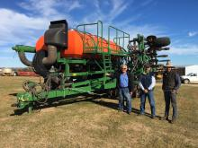 Ausplow managing director John Ryan (left), Ausplow Engineering Manager Carl Vance and University of WA (UWA) farm Ridgefield, Pingelly, farm manager Steven Wainwright, next to the special Ausplow DBS and Multistream rig to be used for UWA trials.