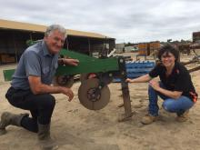 South Fremantle market gardenerLori Sumich with Ausplow's Engineering Manager Carol Erasmus  discussing deep tillage.