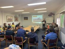 Ausplow sales and marketing manager Chris Blight has a captive audience at a recent Boekeman Machinery owners' school at Wongan Hills. DBS owners and their workers, new and prospective owners and Boekeman staff attended the day.