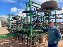 Manoora, South Australia farmer Peter McInerney with his refurbished 30 foot DBS which completed 2000 acres of cereals and pasture establishment this year.