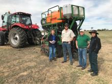 Ausplow R&D coordinator Dr Margaret Roper (left), Quairading farmer Brayden Hayes, nutrient consultant Dave Seagreen and Ausplow engineer Cony Sumoro discuss the Ausplow 2020 trial program after Brayden assisted with the trial work earlier this month pulling the Ausplow trial planter with his Case IH FWA tractor.