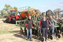 Boekeman Machinery service manager James Gulliver (left), salesman Steve Darrah and Konnongorring farmer Jamie Bynon puictured during a post-seeding check of the new Ausplow seeding rig |Jamie bought earlier this year – a new Case IH Steiger Quadtrac, an Ausplow Multistream air seeder and an Ausplow DBS precision seeding bar.