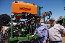 Ausplow's John Ryan (left) and Nutrian director Dave Seagreen.