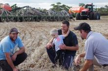 Corey Turnbull (left), Luke Turnbull and his son Johnny and Ramsay Bros director Hamish Ward.