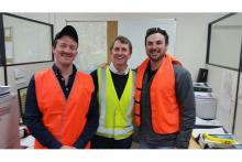 Airtec Australia and Ausplow representative Ryan Taig (left) and Aaron Smart flank Ausplow sales and marketing manager Chris Blight as they discuss market opportunities in the Eastern States during a factory tour of the company's Naval Base and Cockburn Central factories this week.