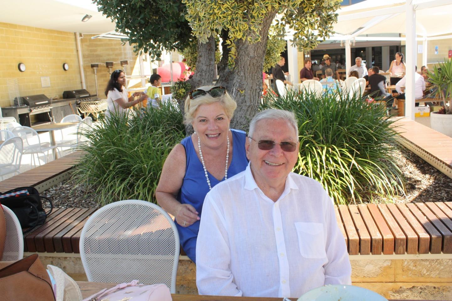 Ausplow Managing Director John Ryan AM and his partner Bernadette Turner enjoyed mixing with the staff at yesterday's wind-up held at the Fremantle Sailing Club.