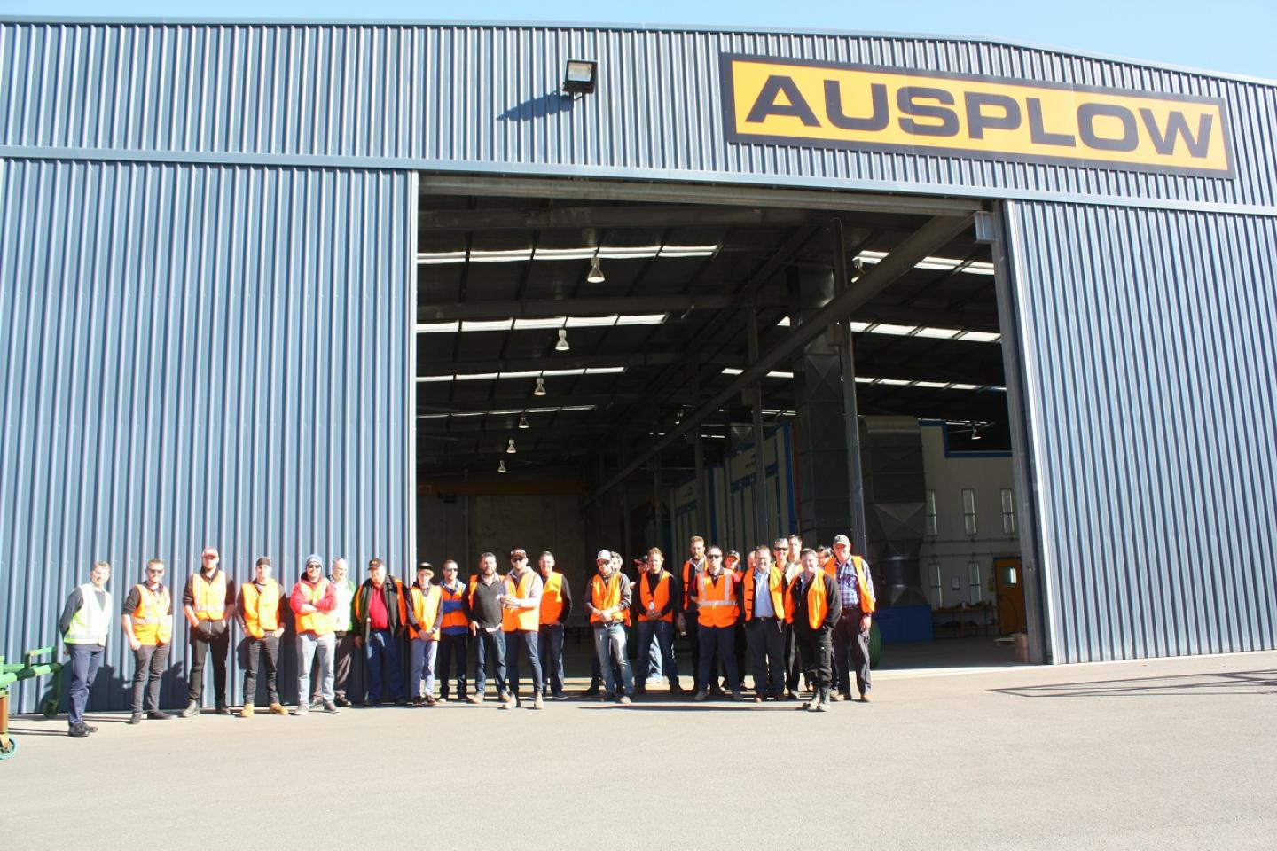 The Boekeman Machinery tour group outside the factory yesterday after completing a walk-through of all the manufacturing processes. The group later were given a briefing on Ausplow products and the company's vision along with the opportunity to ask questions.