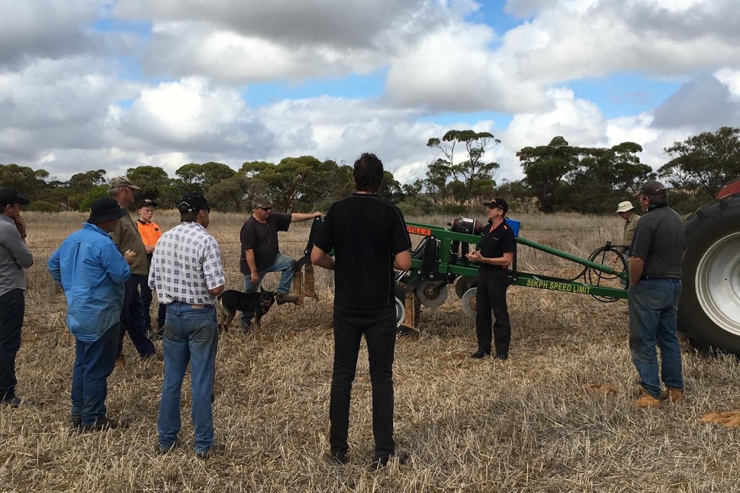 Ausplow sales and marketing manager Chris Blight (third from right) talks with South Australian farmers at Murray Bridge recently as part of a Ramsey Bros deep tillage day.