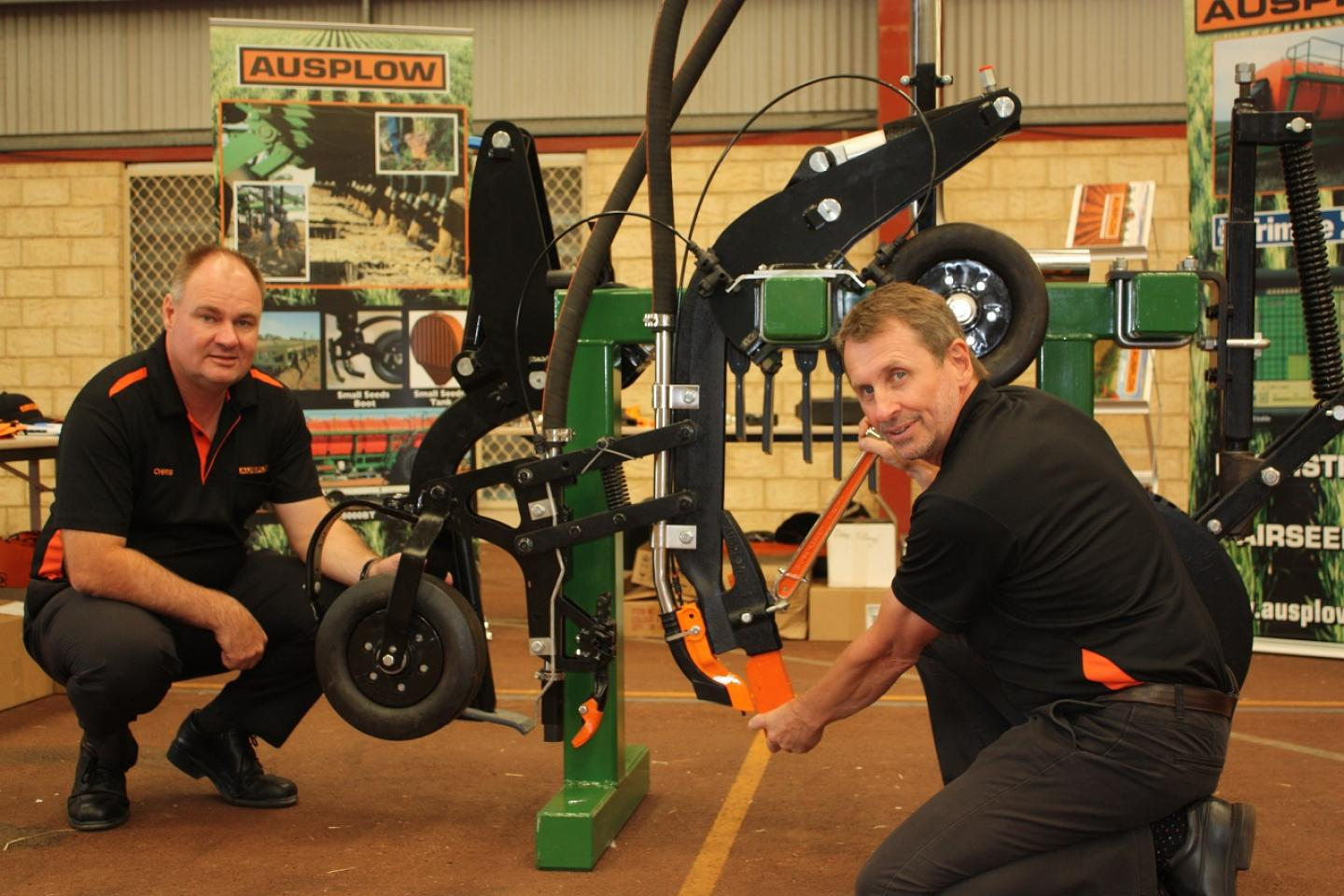 Ausplow general manager Chris Farmer (left) and the company's sales and marketing manager Chris Blight re planning to expand Ausplow's market in the Eastern States.