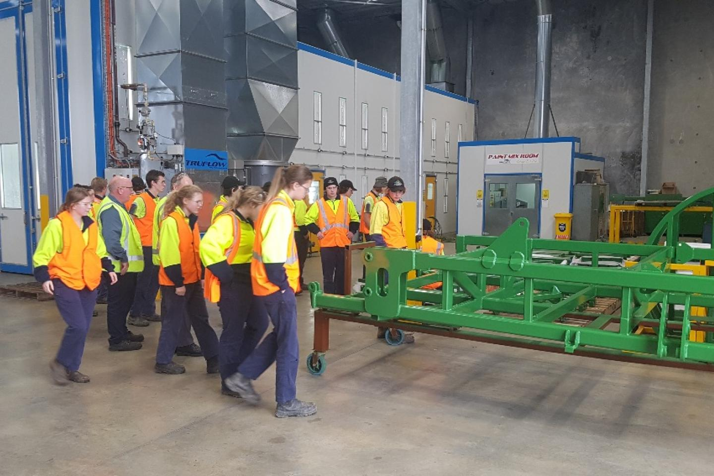 WA College of Agriculture students are shown over Ausplow's state-of-the-art factory at Naval Base.