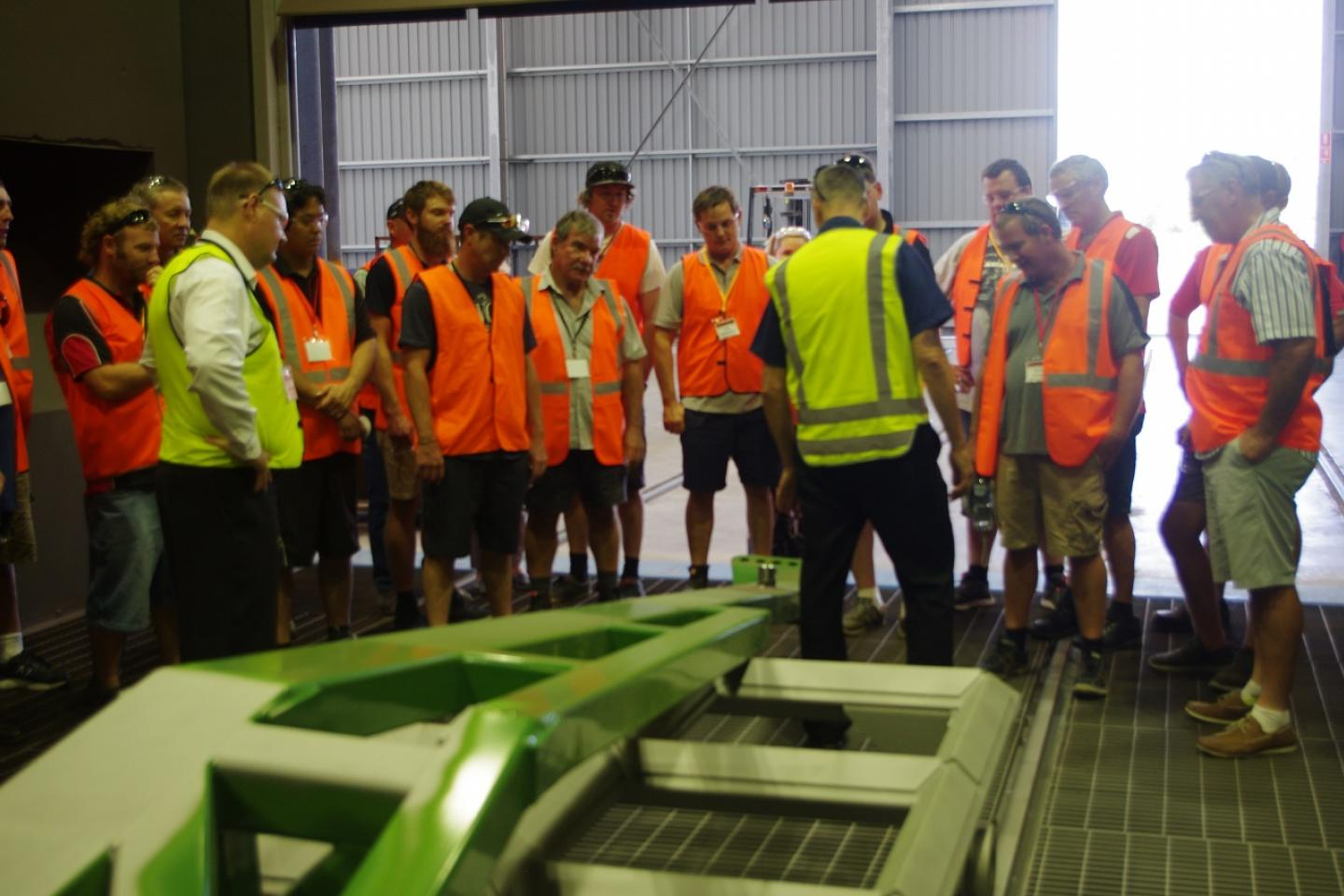 Quality control was a big talking point during the tour with Ausplow production manager Gary Andrews (back to camera) explaining how minor flaws in this DBS cross section mean it is brought back into the blasting booth for re-treatment and re-painting.