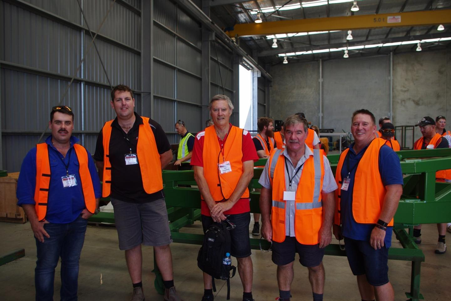 Checking out a finished DBS section were Brett South (left), Beaumont, Farmers Centre salesman Sean Barrett, Des Chambers, Farmers Centre parts manager, Mark Tink, Ravensthorpe and Lyndon Mickel, Beaumont.