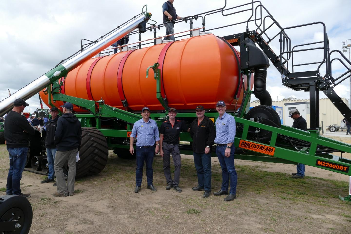 Primaries CRT merchandise manager Fred Lyon (left), Ausplow sales and marketing manager Chris Blight, Ausplow general manager, Chris Farmer and Primaries CRT general manager Andrew Lindsay, pictured at this year's Dowerin field days where last week's  meeting and factory tour was finalised.
