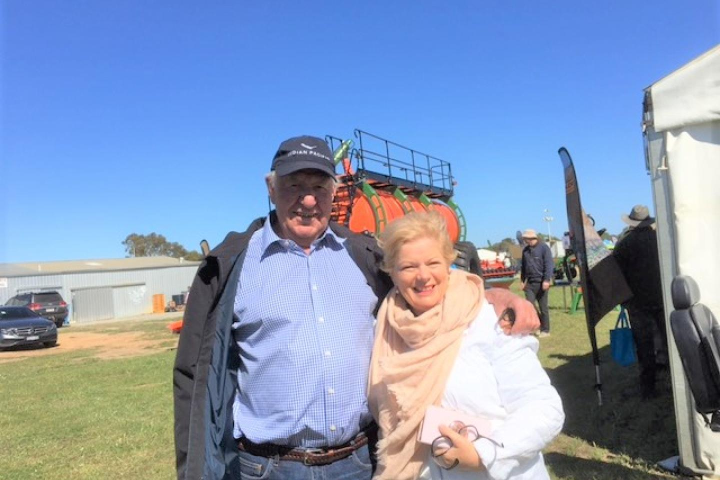 Retired New Norcia farmer and DBS owner Ian Wright made a bee-line for Ausplow's display after a one hour wait at the entrance gate as crowds flocked in to the event. He's pictured here with Ausplow's Bernadette Turner.