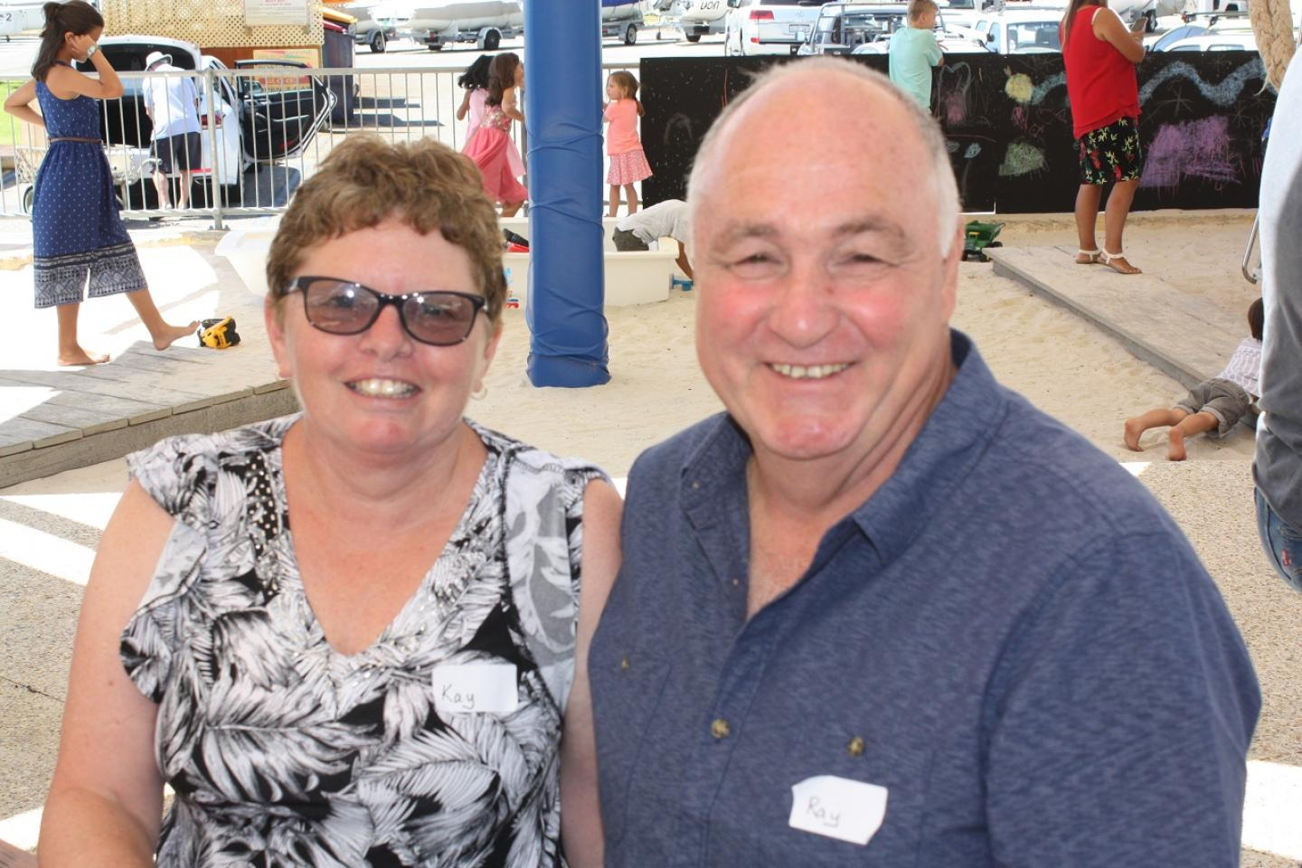 Enjoying yesterday's company wind-up at the Fremantle Sailing Club were Ausplow service manager Ray Beacham and his wife Kay.