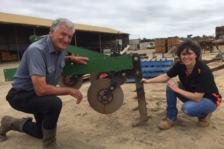 South Fremantle market gardenerLori Sumich with Ausplow's Engineering Manager Carol Erasmus  discussing deep tillage.