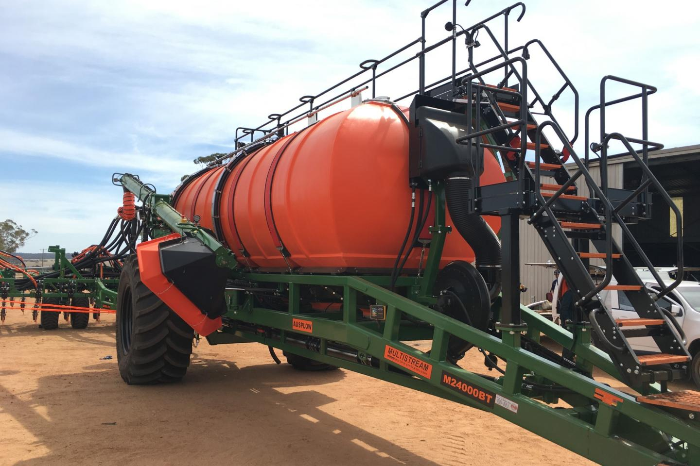 Ausplow's M24000 tow-between granular and liquid-ready Multistream air seeder. It's one of an eight model range with several models to be showcased at machinery field days throughout Australia during the next two months.