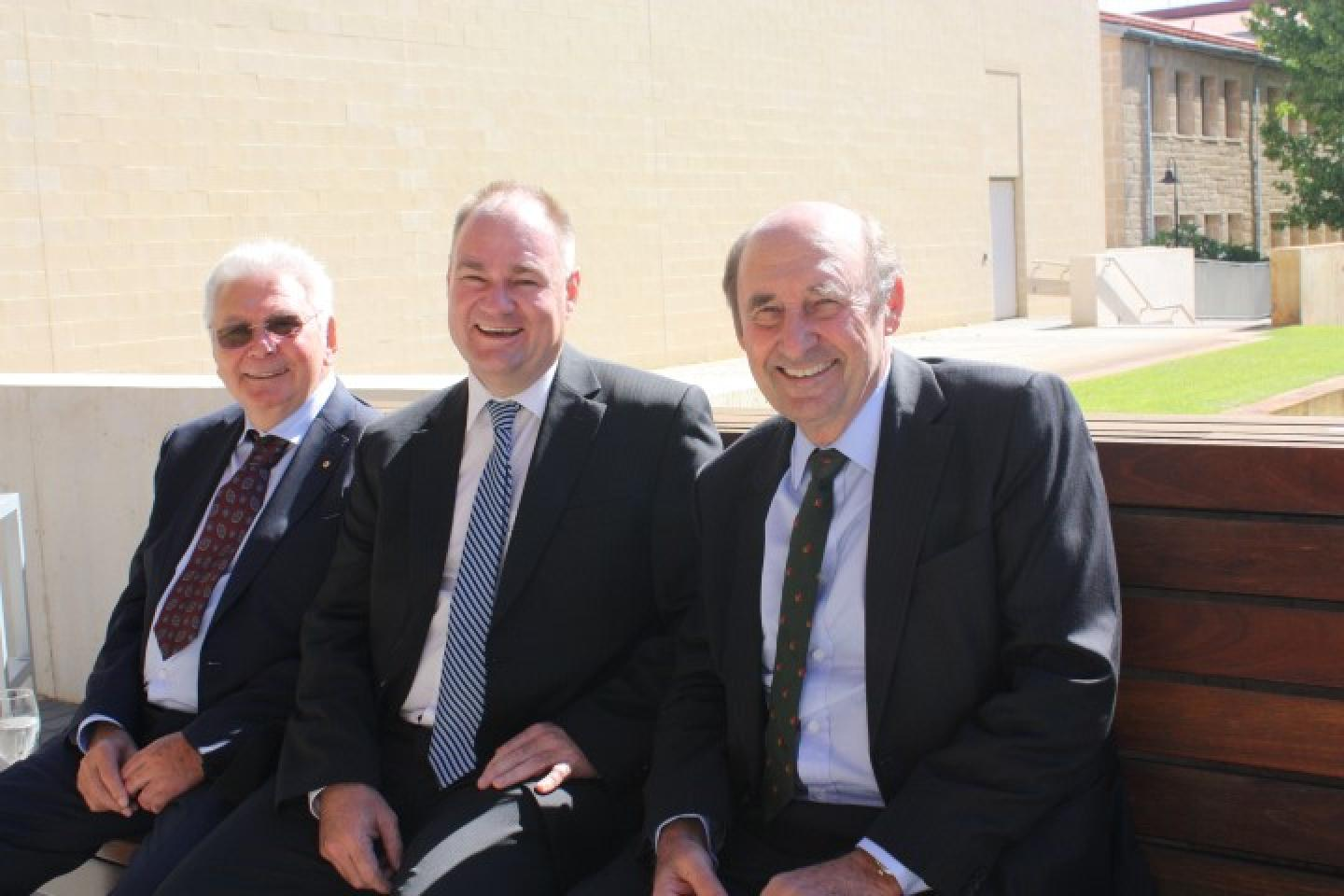Ausplow managing director John Ryan (left), general manager Chris Farmer and New Norcia farmer Peter Nixon catch up for a chat during last week's Nuffield Australian Farming Scholars annual Sponsors' Luncheon.
