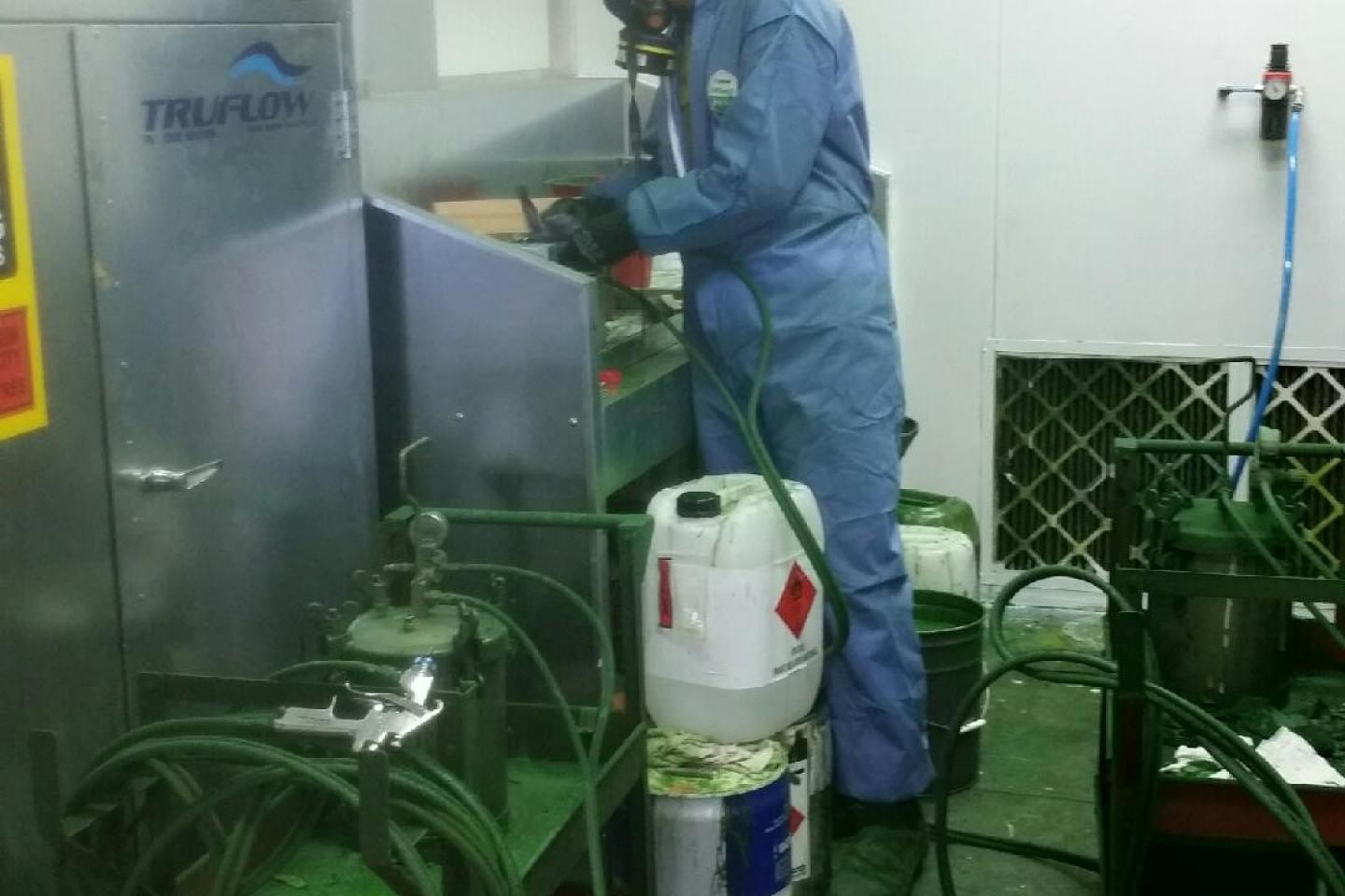 The specialised paint mixing booth meets exacting standards.