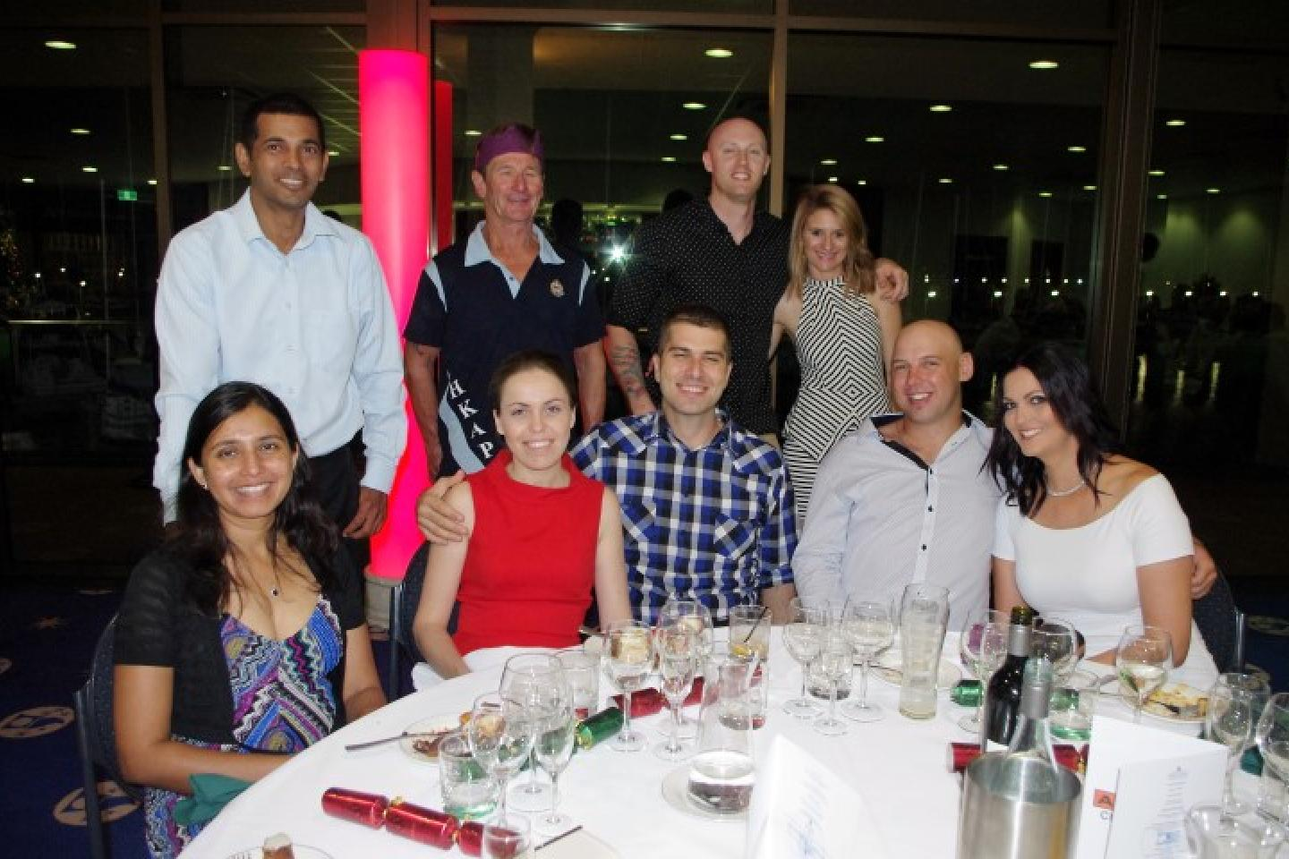 Vajira (left) and Dinesh (standing) Pathirage, Tabita and Abel Adascalitei, Gordon Waycott (standing), Michael Davey and Laysa Leal (standing) and Joel and Gillian Daffin.