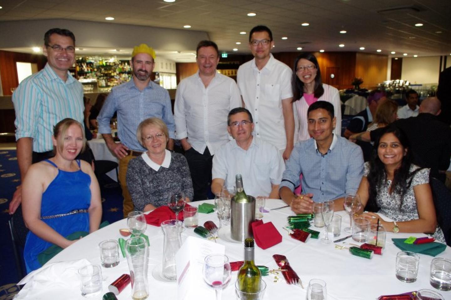 Cindy (left) and Adam Baldwin (standing), Borka Rajkovic, Carl Vance and Richard Woode (standing), Slobodan Rajkovic, Hung Lim and Bee Tan (standing) and Krunal and Zalak Patel.