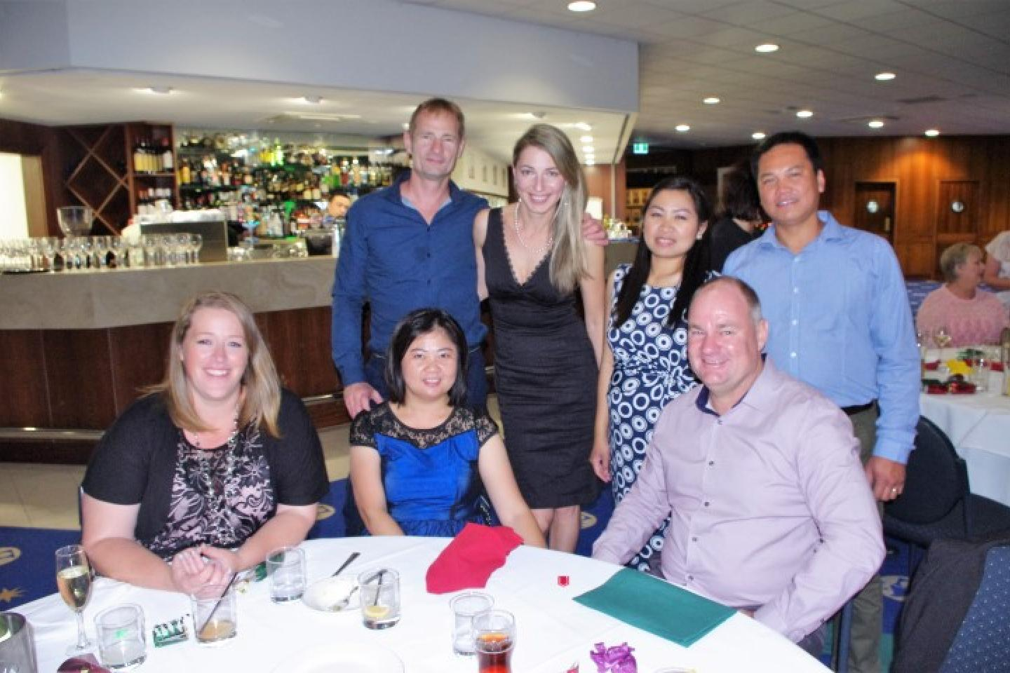 Lemara Pereira (left), Mandy Tham, Paul Dobrowolski and Mila Zigelman and Rebekah and Rey Bautista (standing) and Chris Farmer.