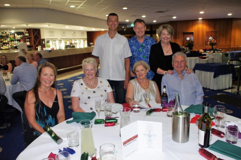 Chris Metcher (left), Mary Jane Wilson, Gary Andrews, Tim and Lynda Jobson (standing), Bernadette Turner and John Ryan AM.