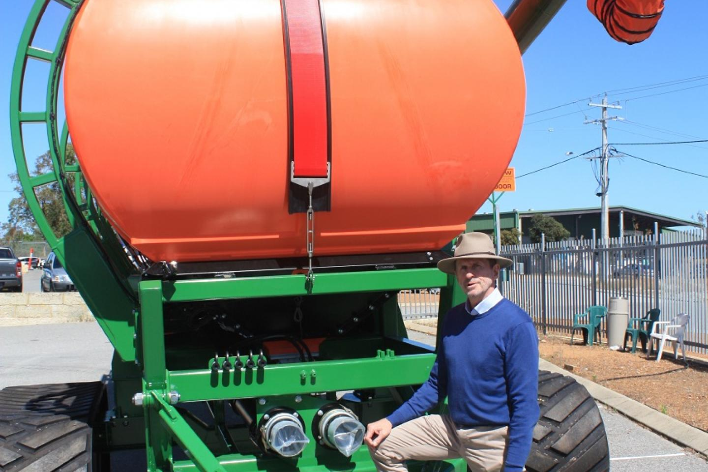 Ausplow sales and marketing manager Chris Blight says the rear hitch can be configured to accept a implement guidance system with the front and rear towing hitch connections accepting Cat 4 and Cat 5 sizes to suit various tractor and seeding bar sizes.