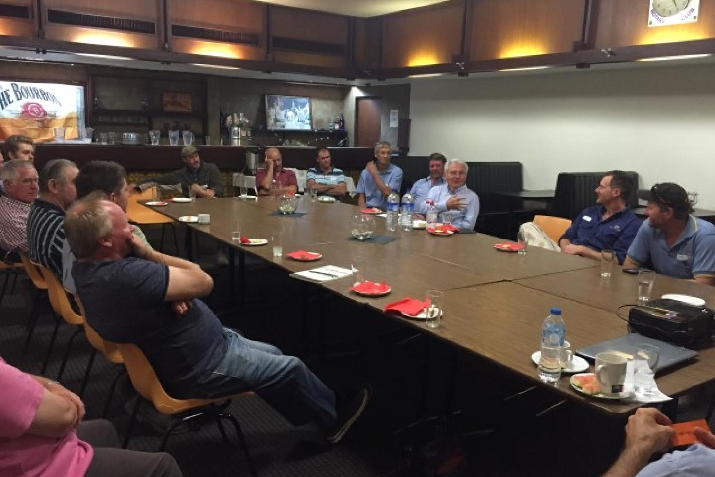 Ausplow managing director John Ryan fields questions from farmers during last night's meeting in Wongan Hills. Photo courtesy Boekeman Machinery.