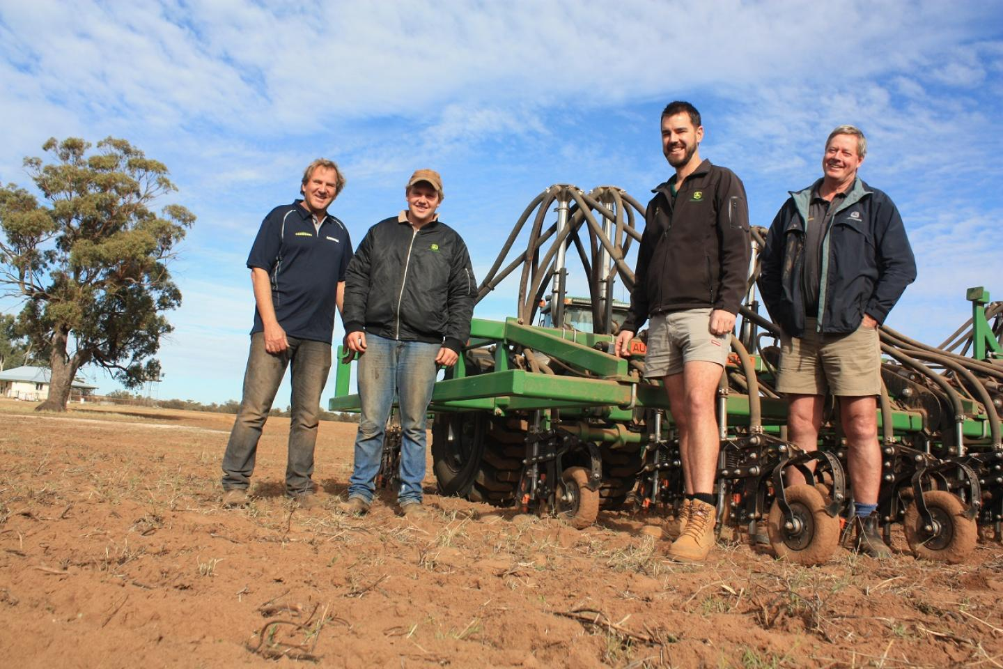 Seeding's over, now for the follow-up rain. That was the topic of discussion between Jennacubbine farmer Darren West (left), his son Dylan, Ag Implements Northam branch manager Luke Siddons and salesman Ted Chester, as they reviewed the performance of Mr West's new DBS precision seeder recently.